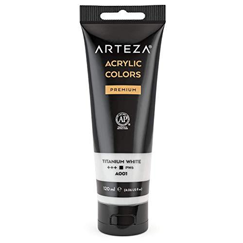 ARTEZA Acrylic Paint, Titanium White Color, (120 ml Pouch, Tube), Rich Pigment,...