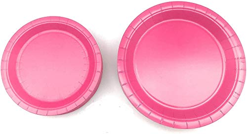 100 Count Pink Paper Plates   50 ~ 9' Dinner Paper Plates   50 ~ 7' Dessert Paper Plates Pink / Baby Shower Party Theme