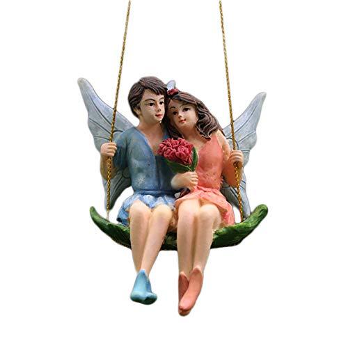 Funight Feengarten-Statuen, Cartoon-Skulptur aus Kunstharz, Schaukelfigur für Zuhause, Gsrden-Dekoration, hängende Statuen für Liebhaber, Geschenk 1