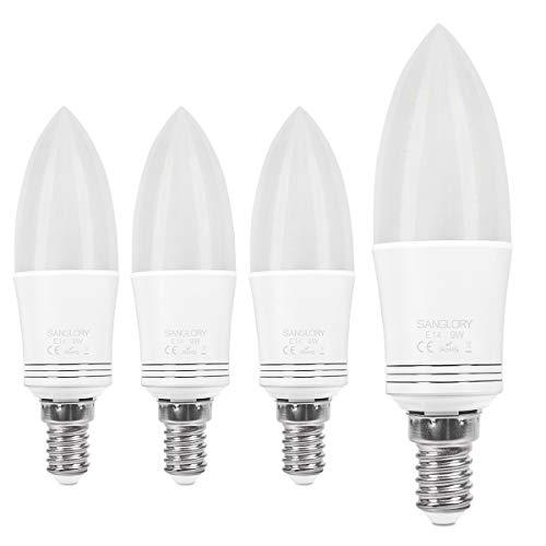SanGlory 4er Pack E14 LED Lampen Warmweiss 3000K, LED E14 Kerze Leuchtmittel, Glühbirne E14 9W ersetzt 40W Halogen, 950 Lumen, LED Glühlampe E14 Kerzenleuchten (9W E14 Warmweiss)