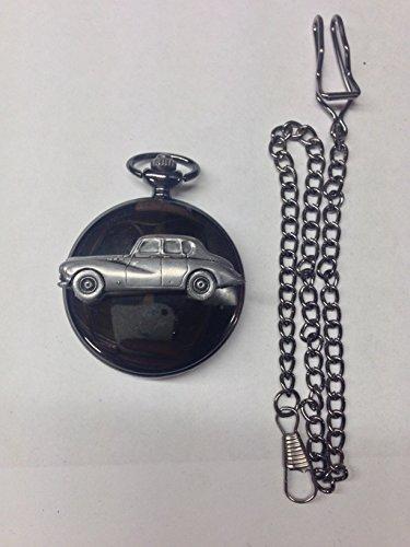 Sunbeam Talbot Mk3 ref242 Emblema de efecto estaño negro pulido para hombre, reloj de bolsillo de cuarzo fabricado en Sheffield