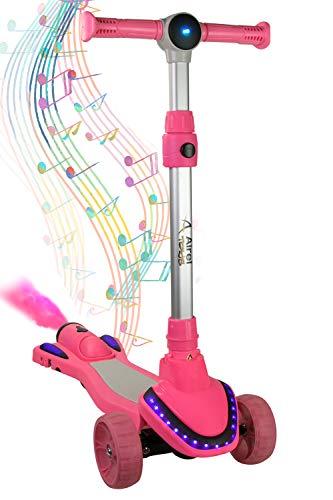 Airel Patinete 3 Ruedas | Scooter para Niños Plegable | Scooter para Niños con Música y Vapor | Patinete con Luces | Scooter para Niños | Patinete para Niños de 3-8 Años (Rosa-Caramelo)