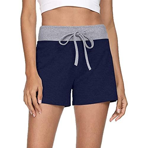WAEKQIANG Pantalones Cortos De Entrenamiento para Mujer Pantalones Cortos con Cordones De CombinacióN De Colores De Yoga Y Fitness Pantalones De Yoga para Mujer