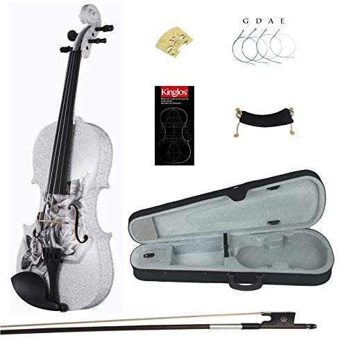 Kinglos 4/4 Gray Rose Colored Ebony Fitted Solid Wood Violin Kit with Case, Shoulder Rest, Bow, Manual, Extra Bridge and Strings Full Size (NHS3003)