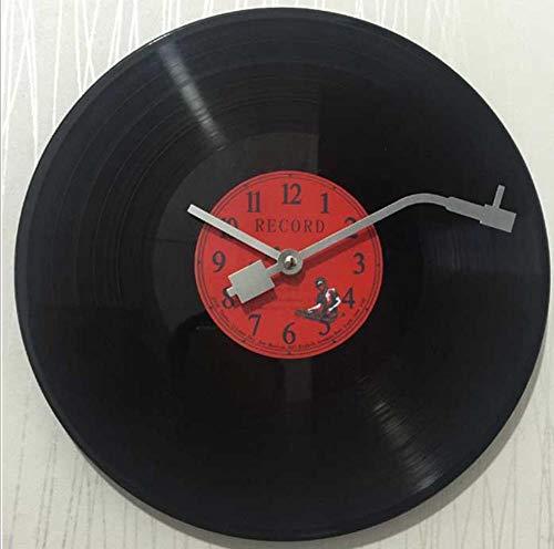 KDFN Reloj de Pared de Vinilo Creativo decoración de la Pared del hogar Reloj de Pared de Disco de Vinilo nostálgico Retro (12 Pulgadas)