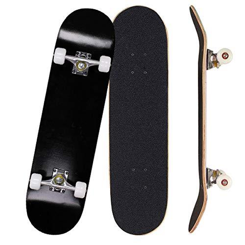 Sumeber Skateboards - Skateboard per principianti con cuscinetti ABEC 7, per ragazzi e ragazze, come regalo di compleanno (All Black)