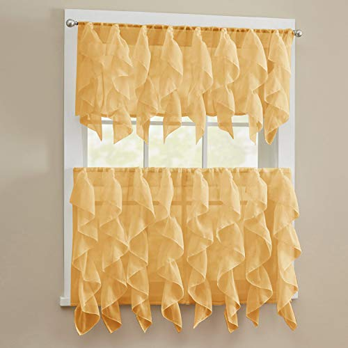 """Sweet Home Collection 3 Piece Kitchen Curtain Set Sheet Vertical Cascading Waterfall Ruffle Includes Valance & Choice of 24"""" or 36"""" Teir Pair, Tier, Sheer Camel"""