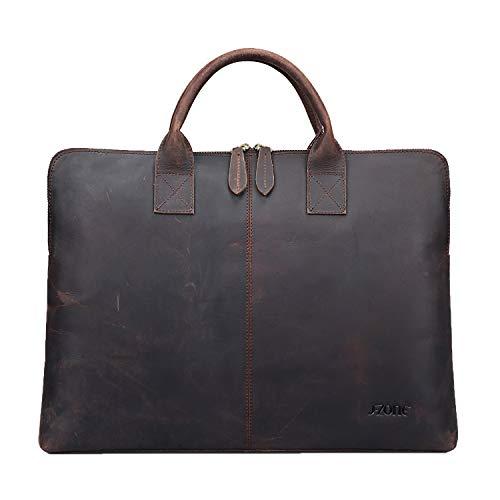 S-ZONE 15,6 Inch Aktentasche aus Leder Business Laptoptasche Tote für Männer Frauen