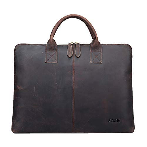 S-ZONE 15.6 Inch Leather Briefcase Laptop Bag Business Work Bag Computer Tote for Men Women