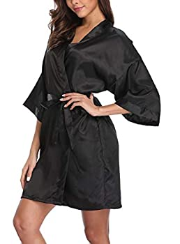 Old-Times Women s Pure Color Silk Kimono Short Robes for Bridesmaids and Bride Black L/XL