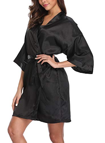 Old-Times Women's Pure Color Silk Kimono Short Robes for Bridesmaids and Bride Black 2XL/3XL
