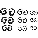 Tiamu 9 pares de dilatadores de dilatadores de dilatadores en espiral, color negro
