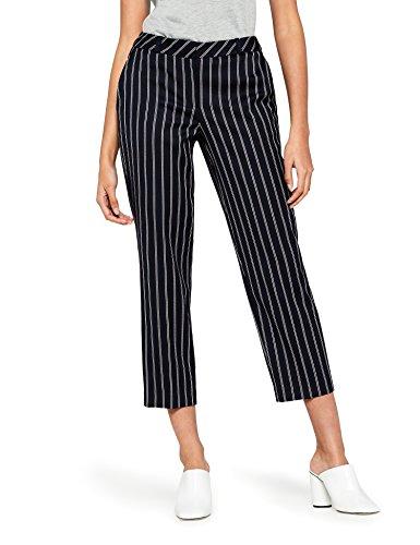 Amazon-Marke: find. Damen Hose Stripe Wide Leg, Blau (Navy), 38, Label: M
