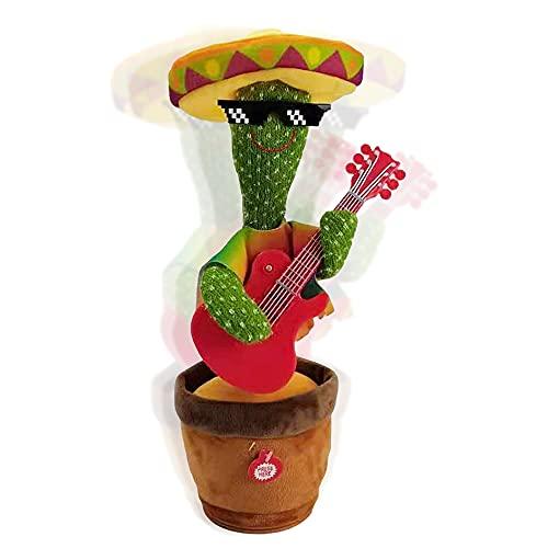Jooheli Cactus che Balla, Cactus Peluche Dancing Giocattoli, Dancing Cactus Toy, 30cm Dancing Cactus Peluche Giocattoli, Giocattoli Cactus Ballerini Shake per Bambino Precoce (Chitarra)