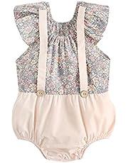الصيف لطيف الطفل بنات داخلية زهرة طفل الملابس القطن الطفل حللا الأزياء (Color : BRS2034 PK, Kid Size : 2-3T)