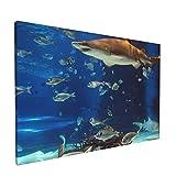 Impresiones del arte de la pared de la lona,Tiburón de acuario, Pintura al óleo impresa en lienzo dormitorio decoración de la pared de la oficina en casa