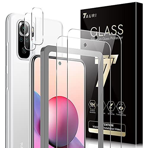 TAURI Schutzfolie Kompatibel Mit Xiaomi Redmi Note 10 4G/ Note 10S (Nicht Note 10 5G) 2 Stück Kamera Panzerglas & 2 Stück Schutzfolie Alignment Frame Blasenfreie 9H Festigkeit Klar HD Bildschirmschutz
