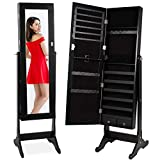 Best Choice Products Standing Mirror Armoire, Lockable Jewelry Storage Organizer Cabinet w/ Velvet Interior, 3 Angle Adjustments - Black