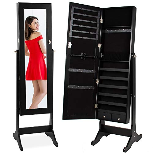 Best Choice Products Standing Mirror Armoire Lockable Jewelry Storage Organizer Cabinet w/ Velvet Interior 3 Angle Adjustments  Black