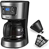 Gevi Coffee Maker, 5 Cups Small Programmable Coffee Machine with Reusable Filter, Keep Warm Function and Auto Shut-Off, 750ml, Grey