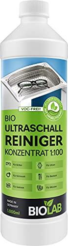 BIOLAB Bio Ultraschallreiniger Konzentrat - Ultraschall Reinigungsflüssigkeit für Ultraschallreinigungsgerät - zur Reinigung von Brille, Schmuck, etc. (1000 ml)