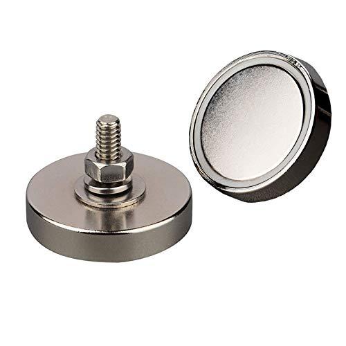 MUTUACTOR 2 imanes redondos de neodimio con base magnética súper potentes,imanes de disco con tornillos magnéticos roscados macho de 1/4 '' - 20 para montaje,fuerza de tracción magnética vertical 68KG