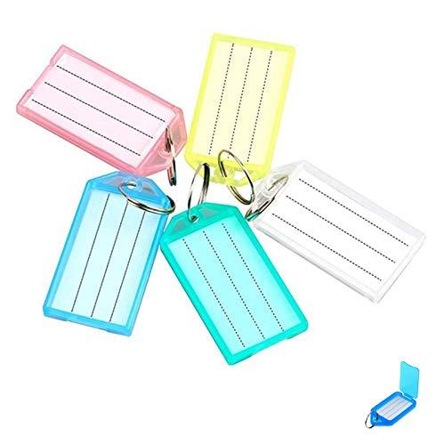 100 Stück Schlüsselanhänger zum Beschriften,Schlüsselschilder Anhänger Schlüsselzubehör Beschriftungsschilder zum beschriften mit Etiketten für Haus Büro Und Kofferanhänger(Zufällige Farbe)