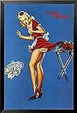 Buyartforless Framed Fresh Lobster - Vintage Pin Up Waitress Girl Pinched 36x24 Retro Art Print Poster