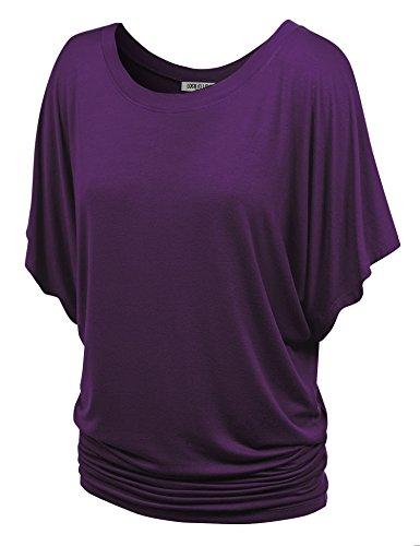 WT742 Womens Boat Neck Short Sleeve Dolman Drape Top S Dark_Purple