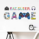 Colorful Gamer Wall Decals-Video Controller Gamer Decor for Boys Room, Game Room Decoration Wall Stickers, Art Gamer Mural Great for Kids Playroom