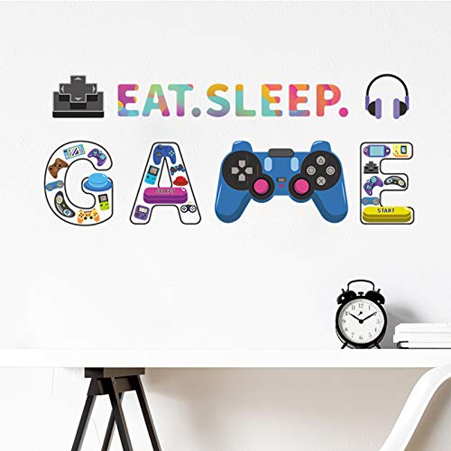 Colorful Gamer Wall Decals-Video Controller Gamer Decor for Boys Room, Game Room Decoration Wall...