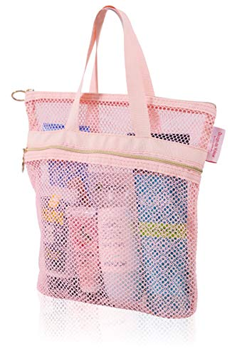 Mesh Shower Caddy - Quick Dry Tote Bag 10.2x9.9' with Zipper & 2 Pockets. Portable Lightweight Hanging Toiletry and Bath Organizer. Essential for College Dorm, Gym, Beach, Travel or Camping (Pink)