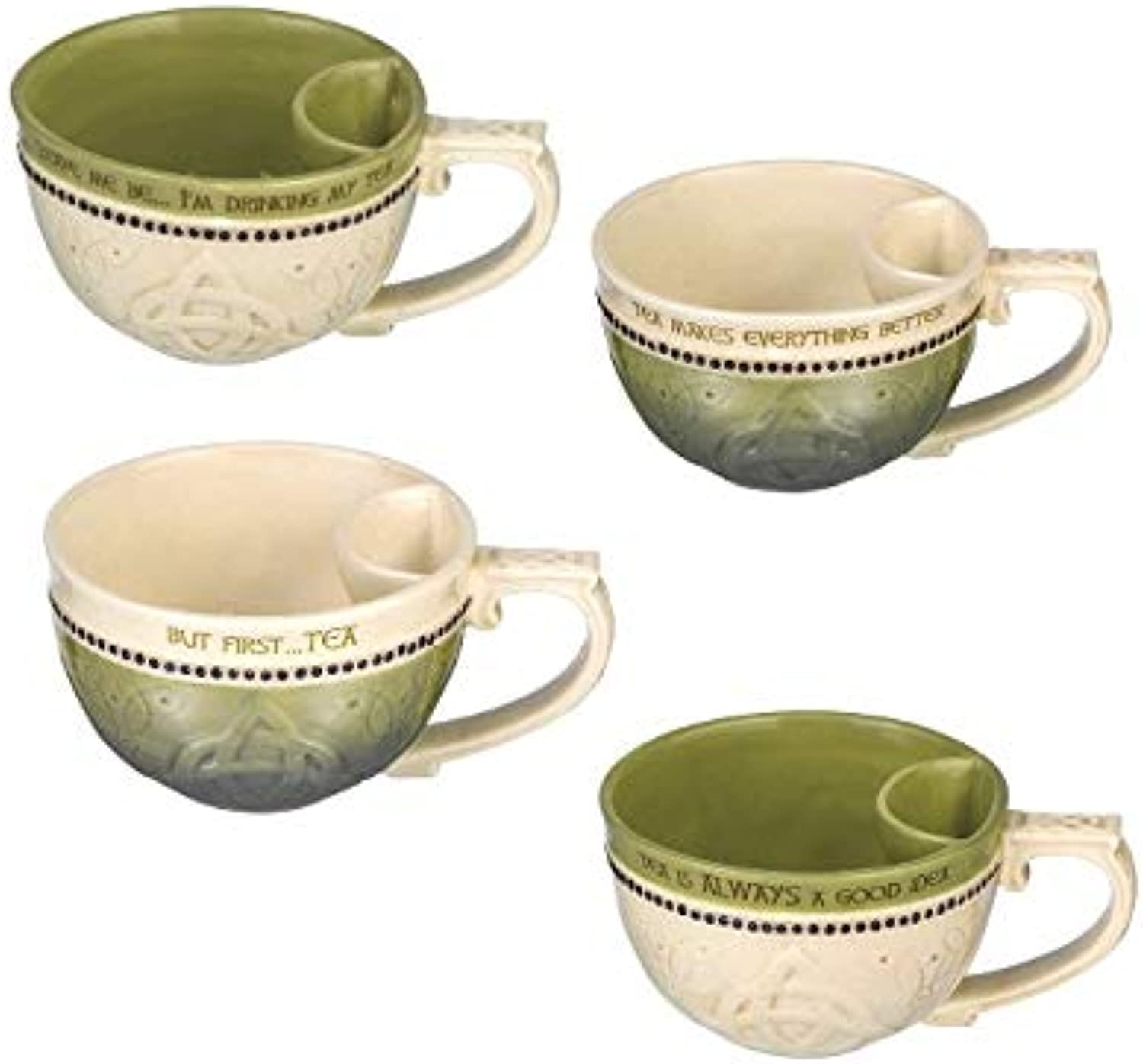 Celtic Teacups with Bag Holder (Set of 4)