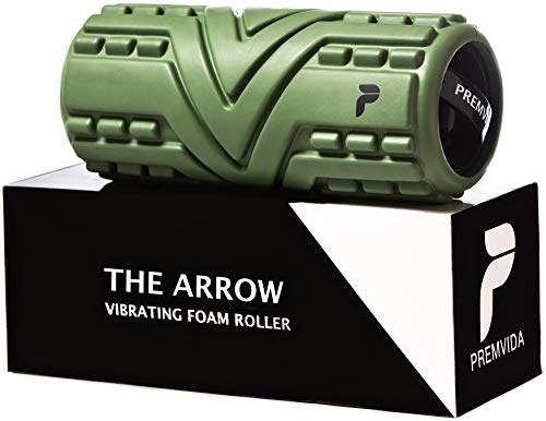 Premvida Vibrating Foam Roller 3-Speed High Density Extra Firm Electric Trigger Point Muscle Recovery Roller for Running, Deep Tissue Sports Massage, Back Massage for Pain and Myofascial Release