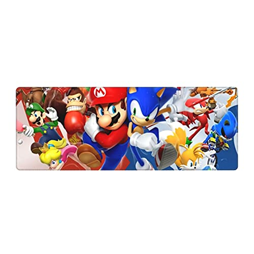 Ma-Rio and Son-ic Mouse Pad Non Slip Rubber Base Rectangle Office Home Laptop Gaming Mousepads