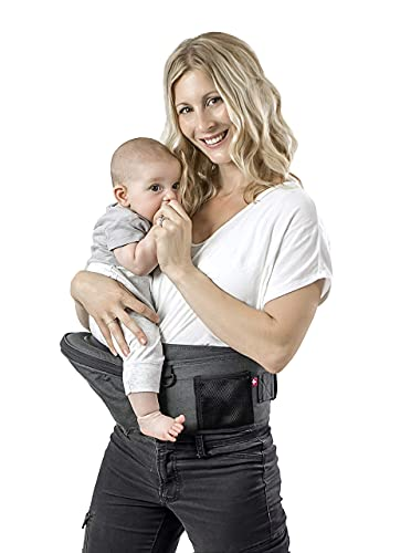 MiaMily Hip Seat Baby Carrier with 3 Carry Positions, Built-in Storage, Adjustable Waist Belt with Lumbar Support, for Newborn to Toddler (Grey)