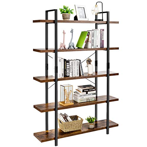 Giantex Bookshelf, 5-Tier Industrial Vintage Bookcase w/ Metal Frame and Rustic Wood, Standing Shelf Unit, Storage Shelves, Book Shelf for Living Room, Bedroom, Office