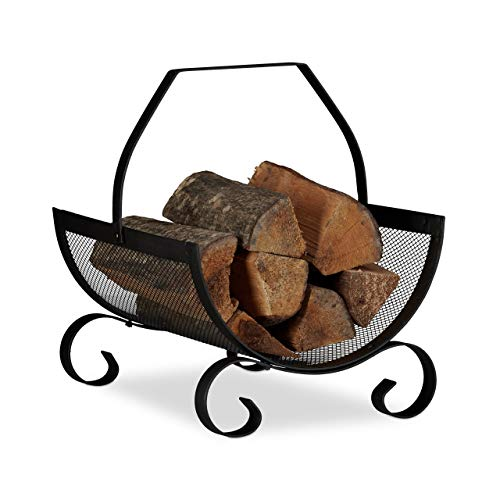 Relax Days brandhoutmand zwart, brandhoutmand groot, houtwieg open haard, vuurhoutmand metaal, HxBxD 40 x 33 x 38 cm, zwart