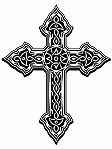 6 Sheets Temporary Tattoos Cross Tattoo Ornate Celtic Temporary tattoo Neck Arm Chest for Women Men Adults 3.7 X 3.7 Inch Cross Tattoo