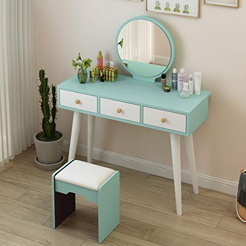 Recliner Modern Small Makeup Vanity Table Green Dressing Table with Mirror Drawers Stool for Bedroom Corner Girl Gift, 60 x 40 x 75 cm