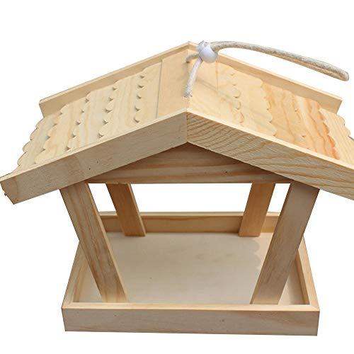 Getherad Houten vogelhuisje, om te knutselen, nestkastje voor hangend vogelhuisje met dubbele dennen,voor tuindecoratie op het buitenraam, 30 x 16 x 22 cm