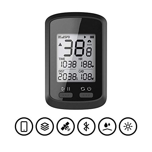 Fahrrad-Tachometer GPS Stoppuhr Fahrrad-Reiten Stoppuhr Geschwindigkeit Mile Multifunktions-Riding Stoppuhr Schwarz Fahrrad Stoppuhr (Color : Black, Size : One Size)