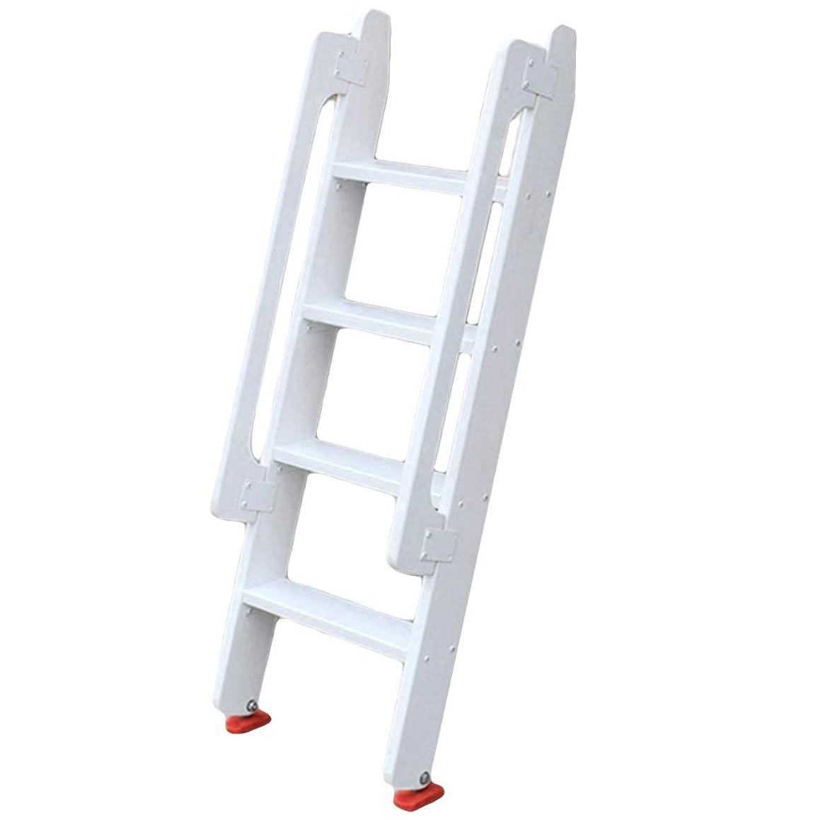 White 4-Step Wooden Ladder, Household Ladder, Straight Ladder with Handrail (Size : 4 Step (125cm high))