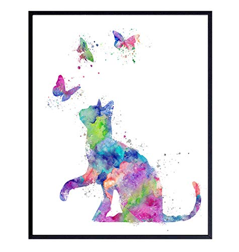 Butterflies and Cat Art - Watercolor Style Wall, Home or Apartment Decor - Sweet Poster Print Gift for Kitten, Kitty Lovers, Women, Girls, Kids, Baby Room, Nursery - Contemporary Modern 8x10 Picture