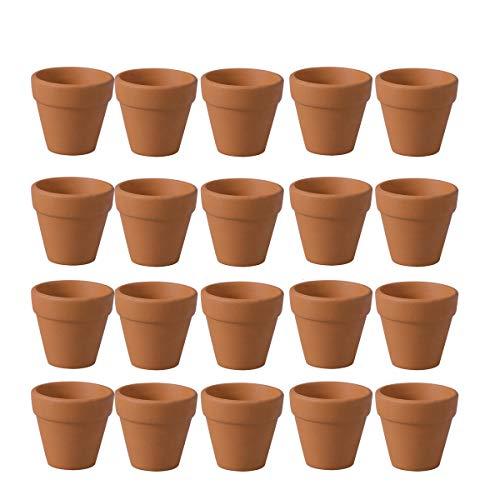 BESTONZON - Mini macetas de terracota de terracota, 20 unidades, pequeñas macetas de terracota, maceta de cerámica, cactus, macetas suculentas, para interior y exterior, bodas, 3 cm