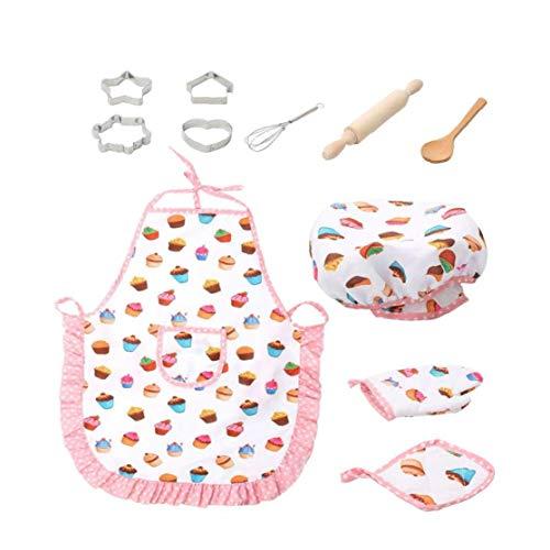 lujiaoshout 11 Stück für Kinder Kochen und Backen Set Kids Chef Rollenspiele einschließlich Schürze Chef-Hut Utensilien Kuchen Cutter Kinder Küche Spielzeug