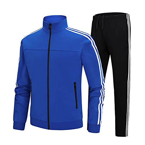 Mikelabo Conjunto de chándal transpirable para hombre con sudadera ligera y cómoda ropa de gimnasio para correr y hacer ejercicio con cremallera completa, azul, XXXXL