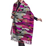 Tengyuntong Bufanda de mantón Mujer Chales para, Bufanda de invierno de cachemir con bufanda de camuflaje informal rosa para mujeres y hombres