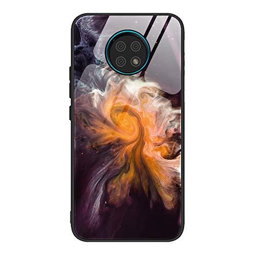 GOGME Cover per Xiaomi Redmi Note 9T 5G Cover, Custodia in Vetro a Trama di Marmo, Vetro Temperato AntiGraffio Back Cover + Bordo in Silicone Morbido TPU Protettiva Case Cover(1)