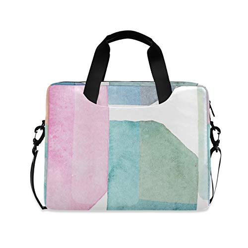 Modern Geometric Style Laptop Case Bag Sleeve Portable Crossbody Messenger Briefcase Attache Casew/Strap Handle, 13 14 15.6 inch